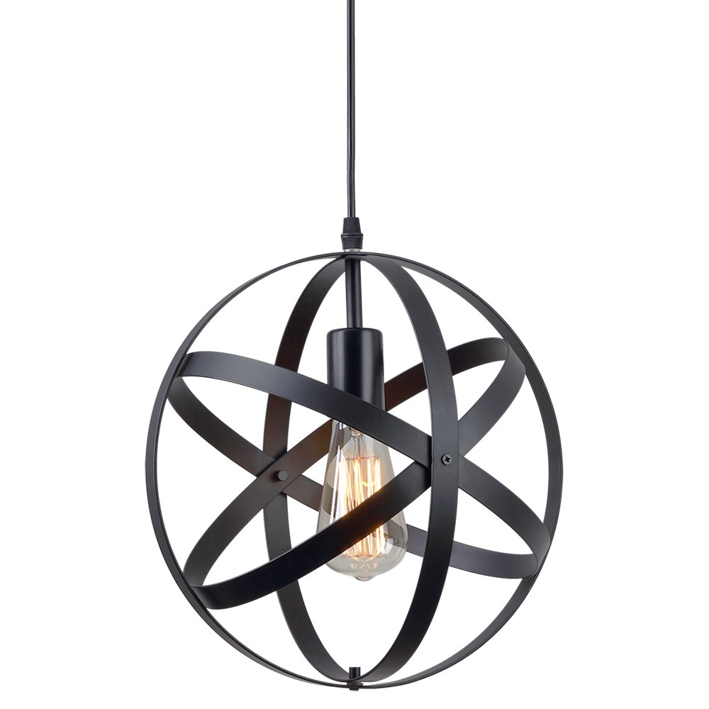 ZZ Joakoah Vintage Industrial Spherical Pendant Light, Metal Globe Ceiling Light Displays Changeable Hanging Light Fixture for Kitchen Island Dining Table Bedroom Hallway.