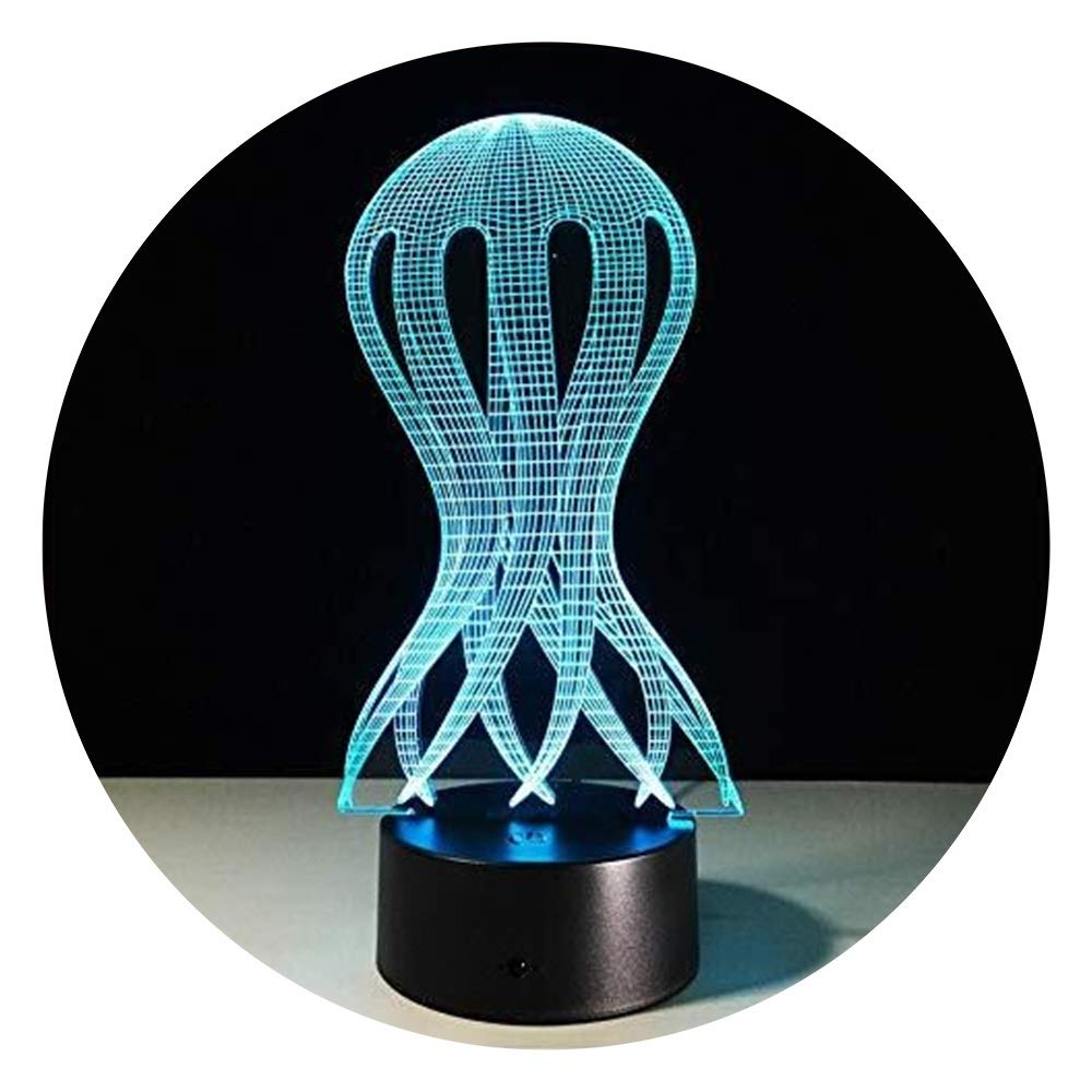 JINXUXIONGDI Visual Stereo Vision 3D Jellyfish Night Light - LED Light 7 Color Acrylic Illusion Hologram Table Lamp Home Office Art Deco Light Children's Decoration