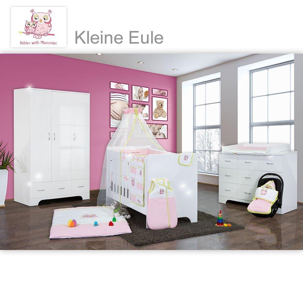 Hochglanz Babyzimmer Memi 18-tlg. mit Textilien Kleine Eule in Rosa