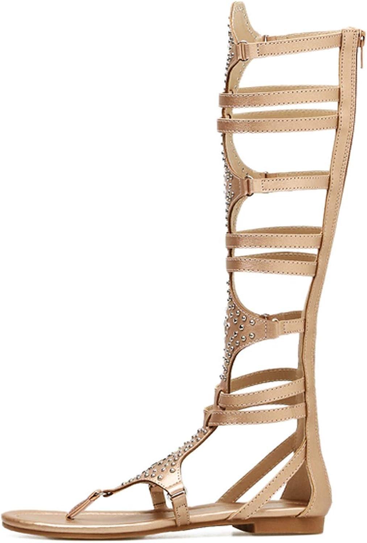Golden Gladiator Roman Sandals Pu Leather Open Toe Knee High Rivet Leisure Sandals Boots Flat
