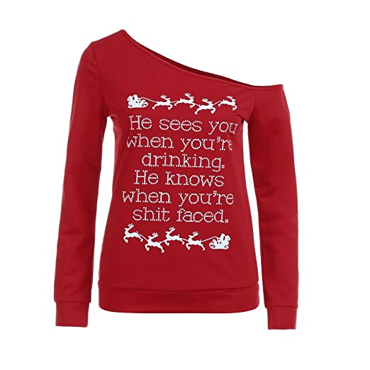 8b8de9d23013a6 Christmas Sweatshirt, Han Shi Womens Off Shoulder Quotation Letter Printed  Pullover Tops at Amazon Women's Clothing store: