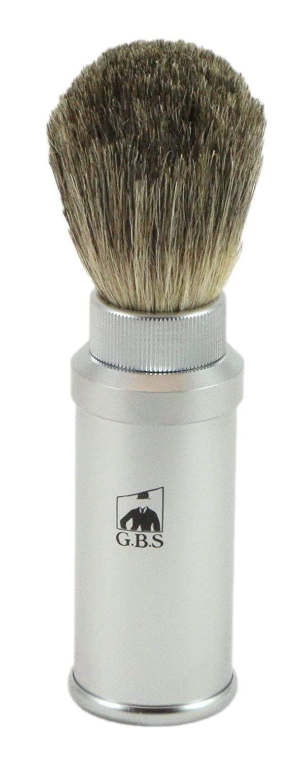 Gbs 100% Pure Badger Bristle Travel Shaving Brush, Light Silver Gray Metal Cannister by GBS