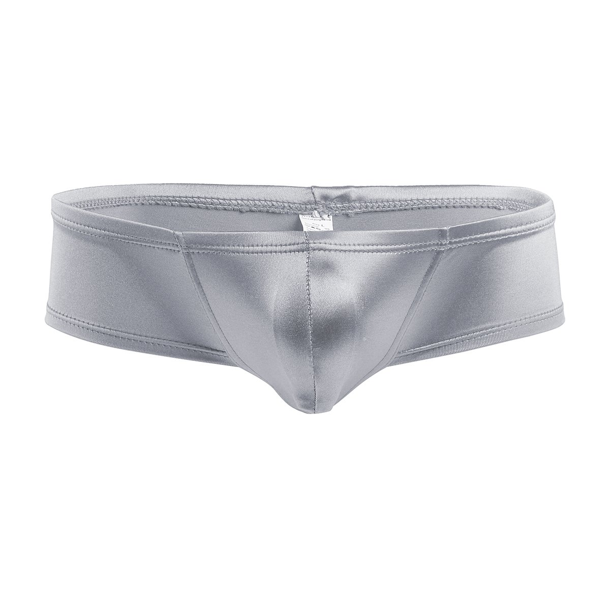 666841f1fa iEFiEL Mens Shiny Cap Cover Bulge Pouch Low Rise Mini Bikini Briefs  Lingerie Underwear Silver XXL