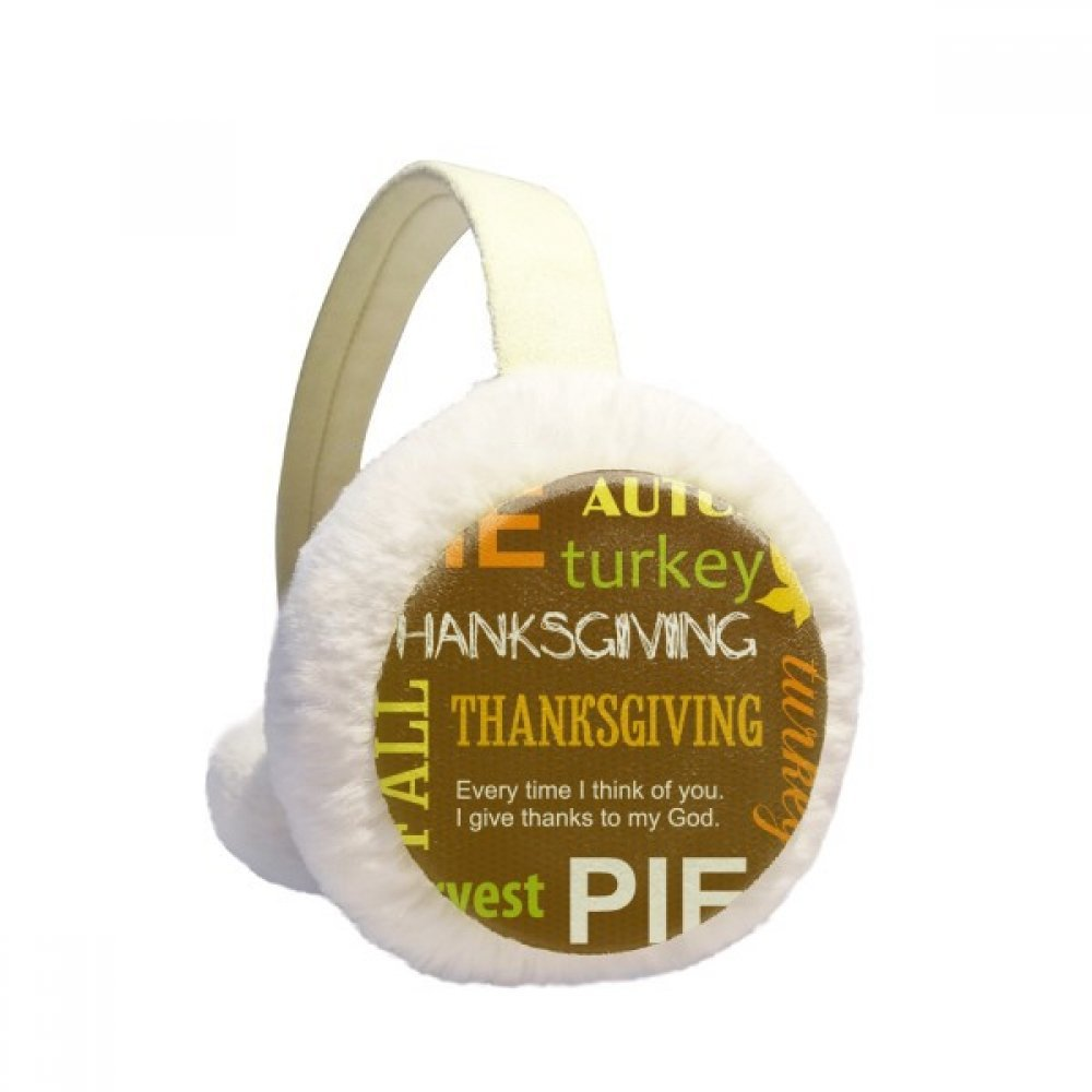 Thanksgiving Day Autumn Pie Pattern Winter Earmuffs Ear Warmers Faux Fur Foldable Plush Outdoor Gift