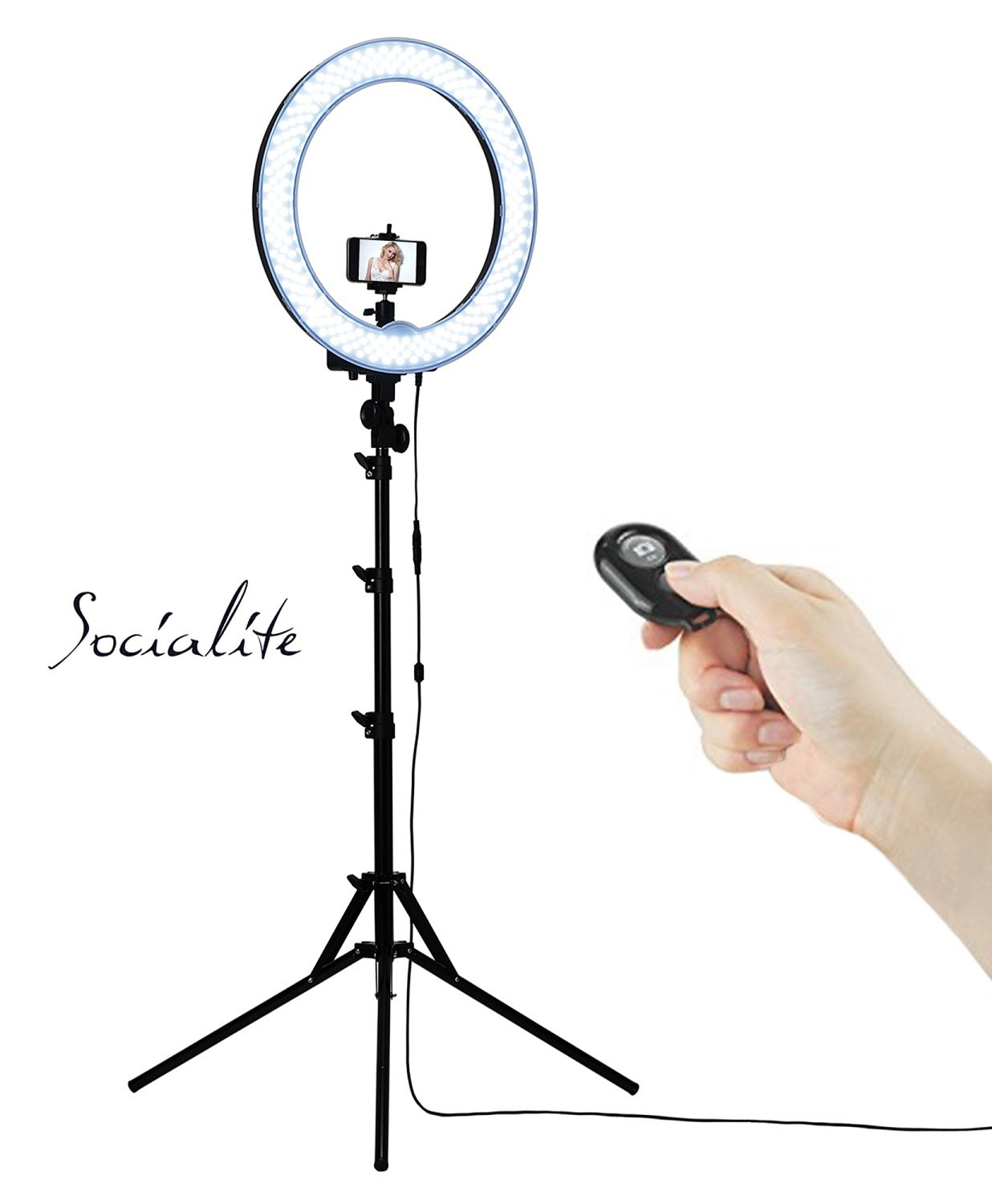 SOCIALITE 18'' LED Dimmable Photo Video Ring Light Kit - Incl Professional Social Media Photography Studio Light, 6ft Stand, Remote, Heavy Duty Mount for DSLR Camera Fits Iphone 6s Android Smartphones by Socialite