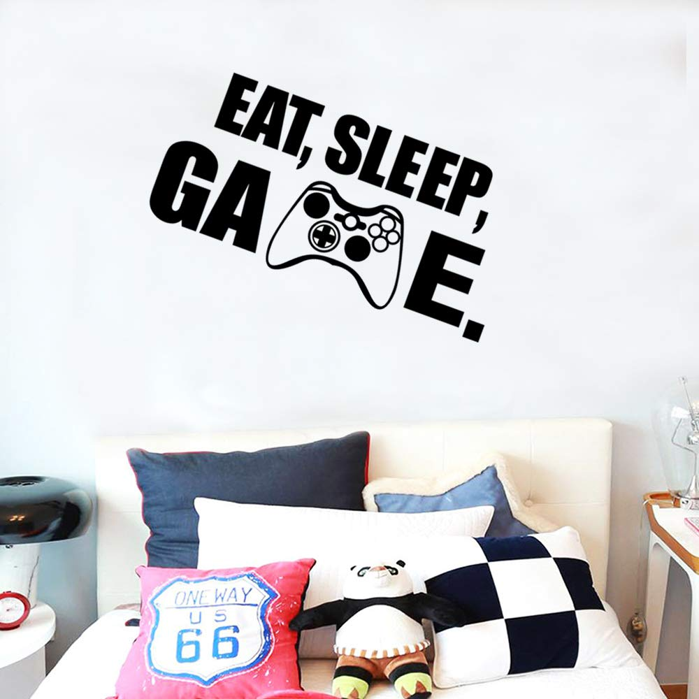Game Wall Decal Gamer with Controller Wall Decal Video Game Wall Stickers Wall Stickers Art Design for Boys Bedroom Home Playroom Background Decor 75x36