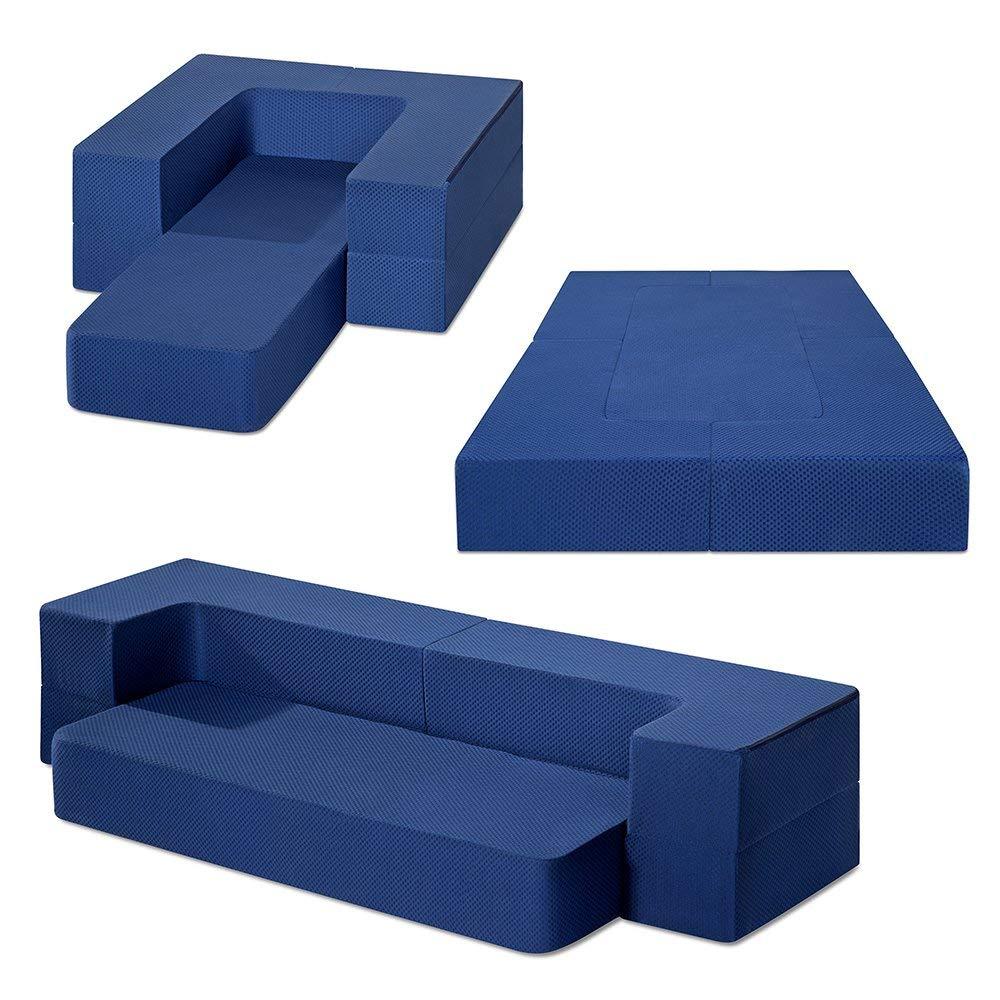 Olee Sleep 8'I Gel Memory Foam Multi-Functional Mattress, Guest Bed/Floor Sofa/Couch, Dark Blue, 08TM02T