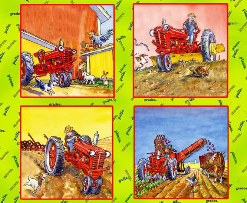 TRACTOR MAC COTTON FABRIC PILLOW PANEL-TRACTOR MAC FABRIC SOLD BY THE YARD-QUILTING PILLOW PANEL