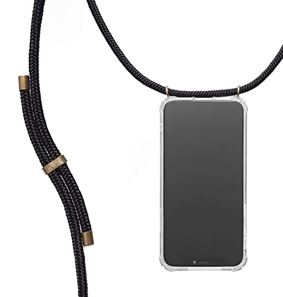 ZhinkArts Crossbody Phone Case for Apple iPhone 7 Plus // 8 Plus Phone Cover with Neckstrap Smartphone Necklace Case with Strap Neck Holder in Black with Carabiner