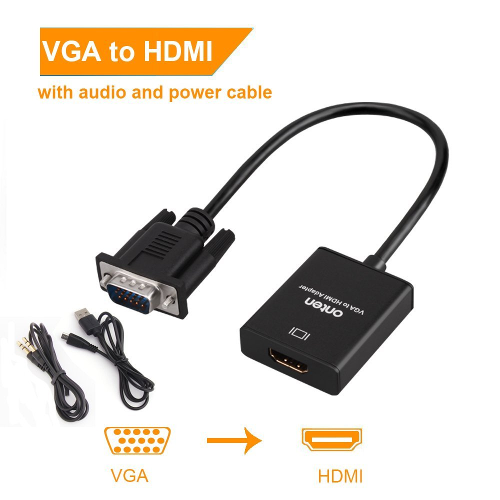 Onten VGA to HDMI Adapter, VGA Male to HDMI Female Cable Converter with 1080P HD Video and Audio Support for Connecting Old PC, Laptop with a VGA output to NEW Monitor, HDTV by ONTEN