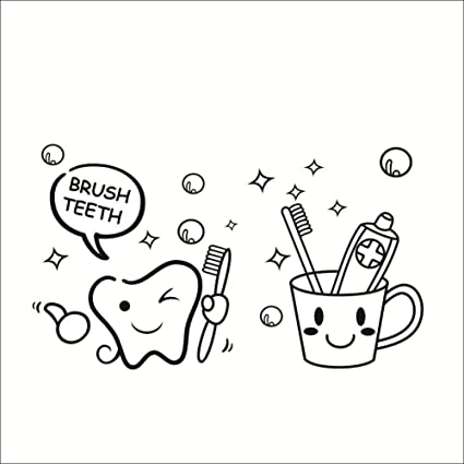 "Lindo ""Cepillo de dientes"" baño Cita inodoro Sala Wall Sticker Decal Mural Arte"