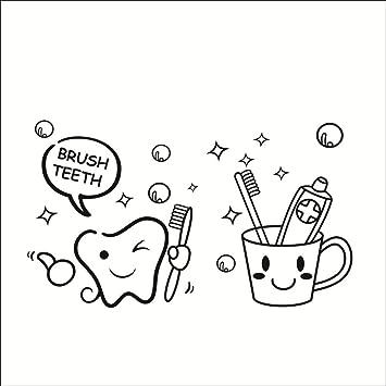 42*26cm Zahn Zahnbuerste Zahnpasta brush teeth abnehmbar Wandtattoo ...