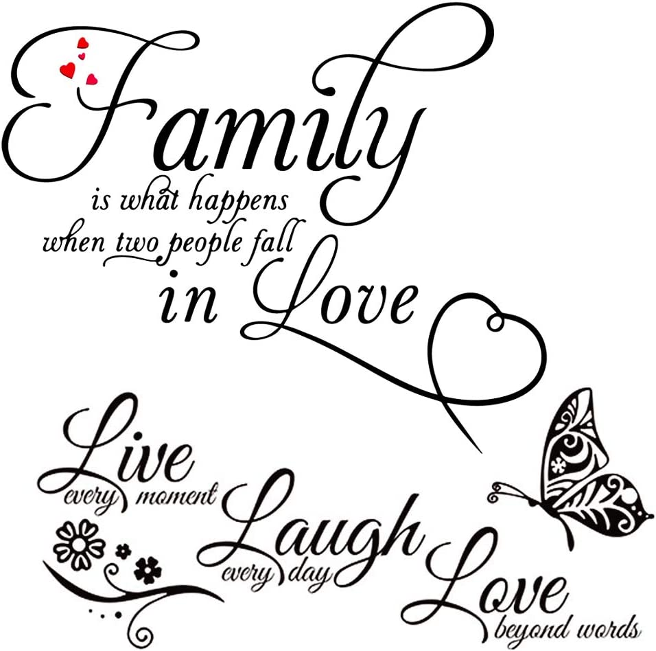 Family Wall Decals - MLM Live Laugh Love Wall Stickers Family Words Quotes Art Mural Home Décor for Living Room Bedroom (2 Sheets)