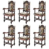 Design Toscano Charles II Chairs: Set of Six Armchairs