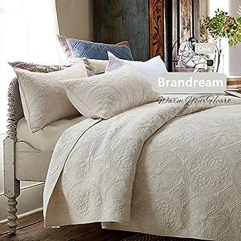 Amazon Com Brandream White Beige Vintage Floral Comforter