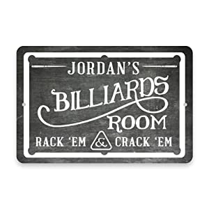 Pattern Pop Personalized Chalkboard Billiards Room Metal Room Sign