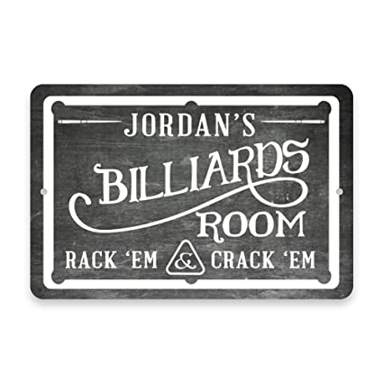 3db7f4a19d5b6 Personalized Chalkboard Billiards Room Metal Room Sign