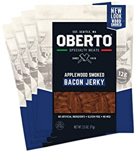 Oberto Specialty Meats Applewood Smoked Bacon Jerky, 2.5 Ounce (Pack of 4)