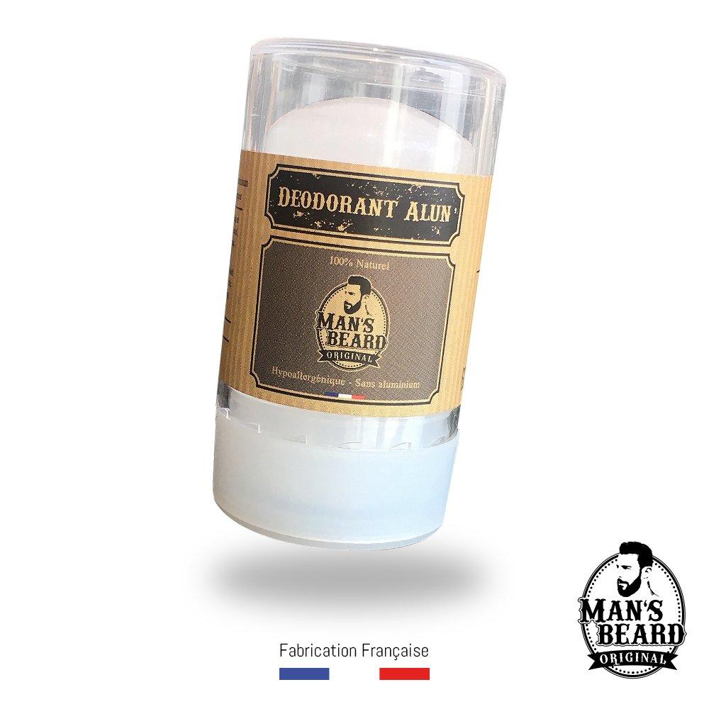 Man's beard - Véritable Deodorant Pierre d'Alun 60 g - Sans chlorhydrate d'aluminium - Déodorant NATUREL man' s beard