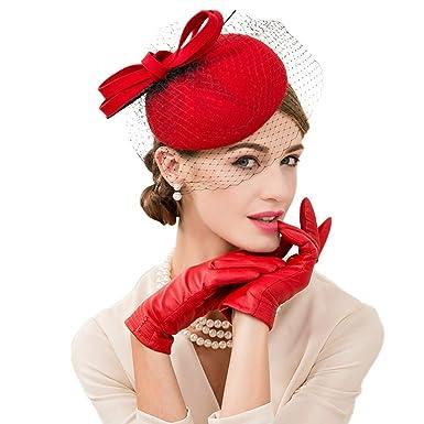 b2c3bb3e219b0 KRASTAL Women Fascinator Wool Church Hat Felt Fedoras Wedding Pillbox Hats  Female Fascinators Red at Amazon Women s Clothing store