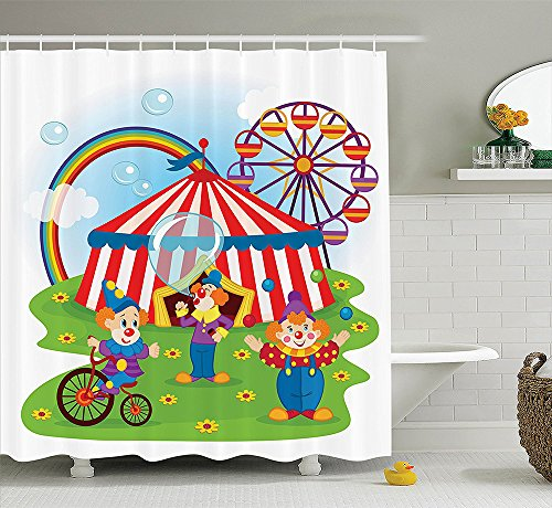 Circus Decor Collection Fun Circus Scene with Clowns on Grass Rainbow Ferris Wheel Happy Bubbles Childhood Theme Polyester Fabric Bathroom Shower Curtain Set with Hooks Green (How To Make A Scary Clown Costume)