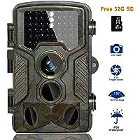 BestoU Camera de Chasse, caméra de Chasse, 16mp 1080p HD Nocturne Infrarouge caméra Chasse 49 LED Caméra IP56 étanche Livré avec Une Carte mémoire Micro SD de 32 Go