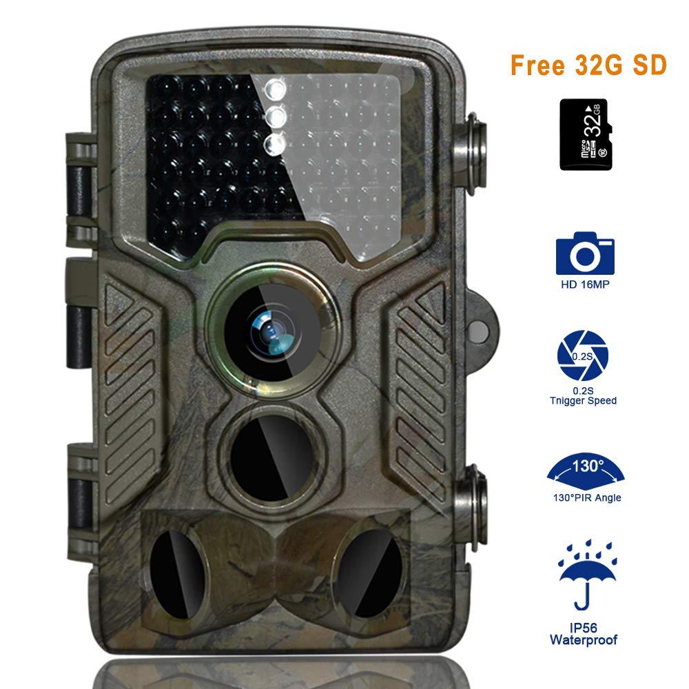 C/ámara de Caza BestoU 16MP 1080P HD Trail C/ámara con Visi/ón Nocturna Impermeable IP56 con PIR Infrarrojo Sensor de Movimiento 46 Pcs IR LEDs de 2.4 LCD con 32G Tarjeta Micro SD /… C/ámara de Caza