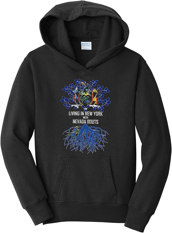 Tenacitee Girls Living in New York with Nevada Roots Hooded Sweatshirt