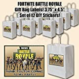 FORTNITE Stickers Video Game Truck Party Favors Supplies Decorations THANK YOU Gift Bag Label STICKERS ONLY 4.25'' x 3.67'' -12 pcs