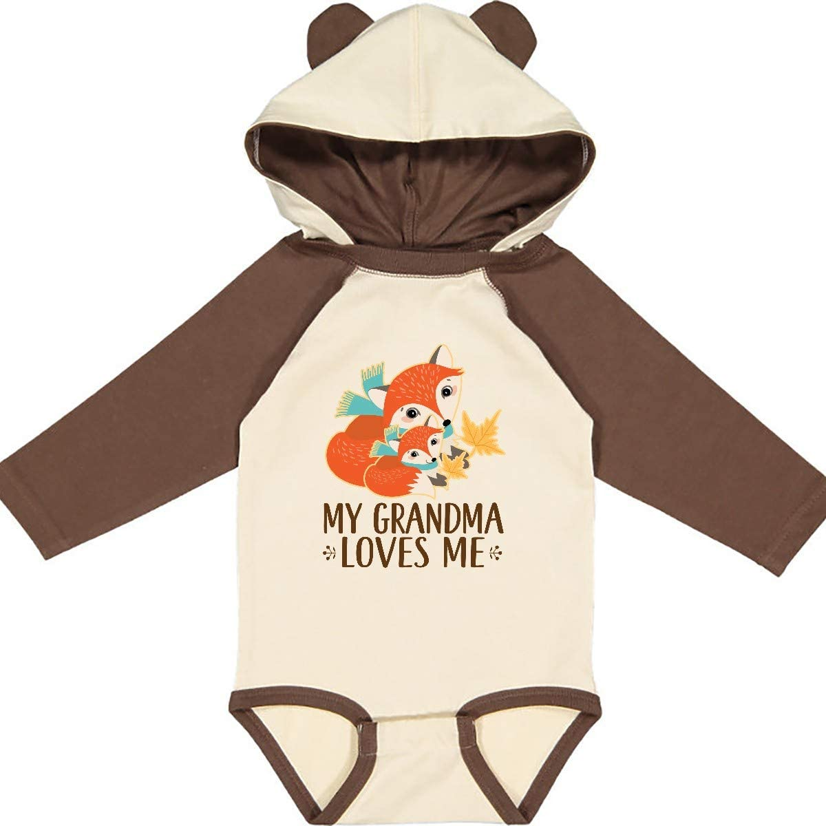 inktastic Grandma Loves Me Woodland Fox Gift Long Sleeve Creeper