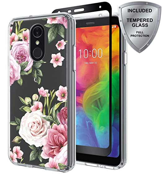 big sale 9d706 8f8eb LG Q7 Case, LG Q7 Plus Case with Tempered Glass Screen Protector, ChangeJ  Shock Absorption Slim Clear Flower case for LG Q7 / Q7 Plus (Pink)