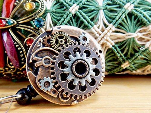 Steampunk ID Badge Clip Vintage Victorian Watch Movement Design Industrial Style Name Card Holder Unique Nurse Jewelry Designer Nursing Graduation Gift Mens RN Retractable Reel Clock Gear Metal Cogs - Therapist Unisex Watch