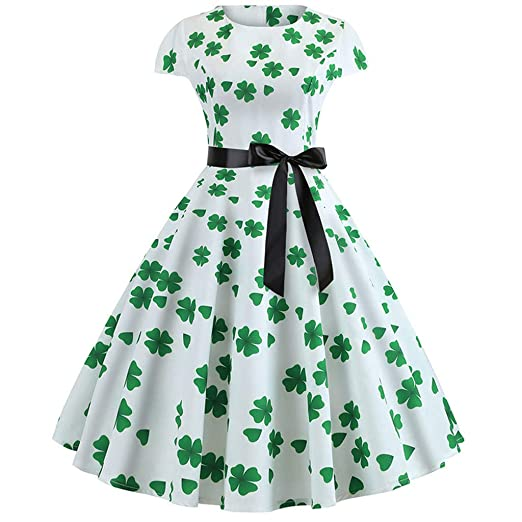 7c194f3b2 Amazon.com: Willsa St. Patrick's Day Women's Shamrock Evening Print Party  Prom Swing Bow Dress: Clothing