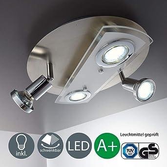 Lámpara de techo redonda Ø 290mm I 4 x 3 W bombillas LED giratoria GU10 I Metal y cristal I Foco LED para techo I Color de luz blanco cálido I 230 VI ...