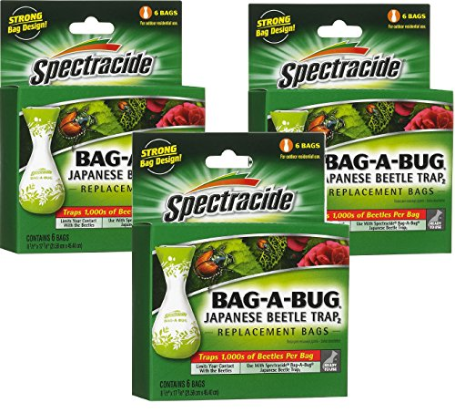Spectracide Bag-A-Bug Japanese Beetle Trap2 - 18 Bags Total (3 Packages with 6 Bags (Japanese Beetle Bugs)