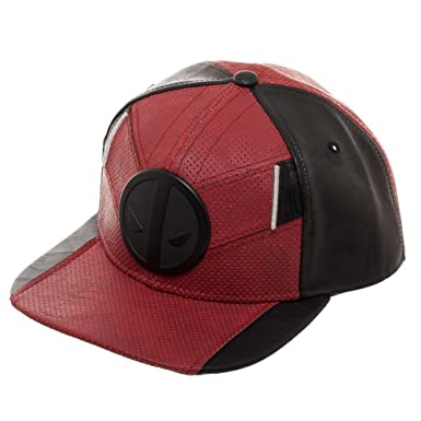 Deadpool Red and Black Uniform Flatbill, Marvel Comics Mercenary Suit Up Snapback