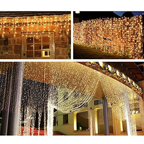 Quntis LED Curtain Lights, LED String Lights 300 LEDs 29V Warm White LED Fairy Icicle Starry Lights Decor for Home Bedroom Kitchen Garden Window Wedding Party Holiday Christmas, UL588 Certified by Quntis (Image #9)