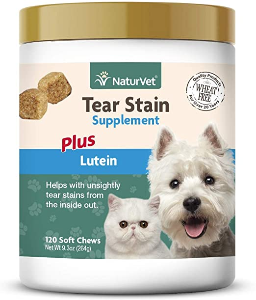 NaturVet – Tear Stain Plus Lutein – Eliminates Unsightly Tear Stains – Enhanced with Cranberry Extract, Calcium Ascorbate & Oregon Grape Root – for Dogs & Cats – 120 Soft Chews
