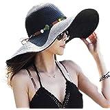 DRESHOW Womens Bowknot Straw Hat Foldable Beach Sun Hat Roll up UPF 50+