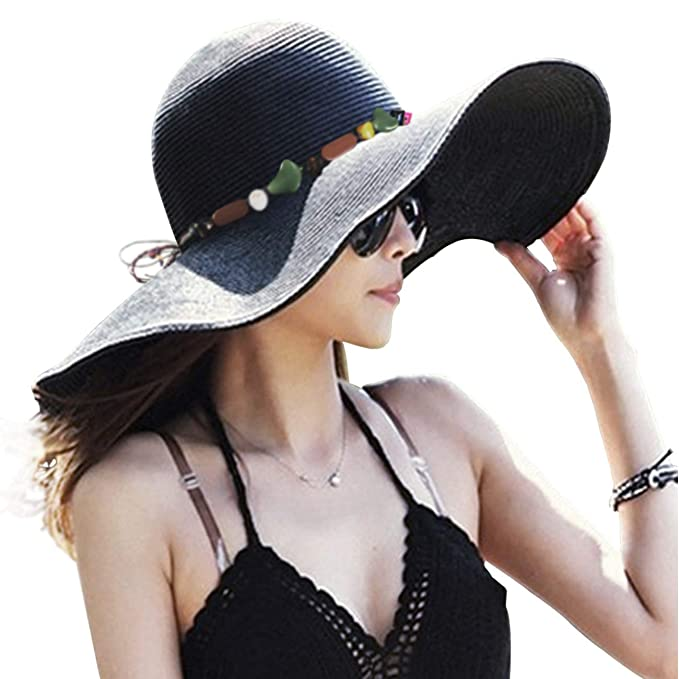 c2e268a1 Image Unavailable. Image not available for. Color: DRESHOW Womens Bowknot Straw  Hat Foldable Beach Sun Hat Roll up UPF ...