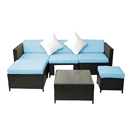 Amazon Com Leisure Zone 6pcs Sectional Sofa Patio Furniture Set For