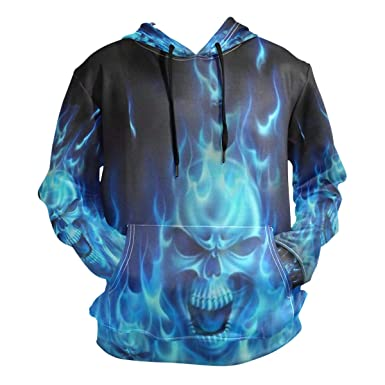 97333a80c1b0 Amazon.com  Blue Flame Skulls Mens 3D Print Fashion Hoodies Pullover  Athletic Hooded Sweatshirt Jacket with Pocket  Clothing