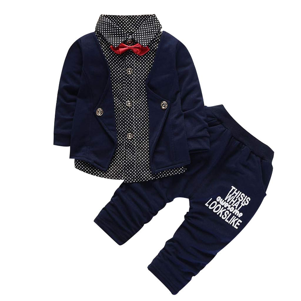 Toddler Baby Boys Outfits Bow Dot Print Long Sleeve Tops Letter Pants Gentlement Cotton Clothes Set