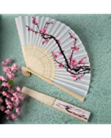 Delicate Cherry Blossom Design Silk Folding Fan Favors, 1