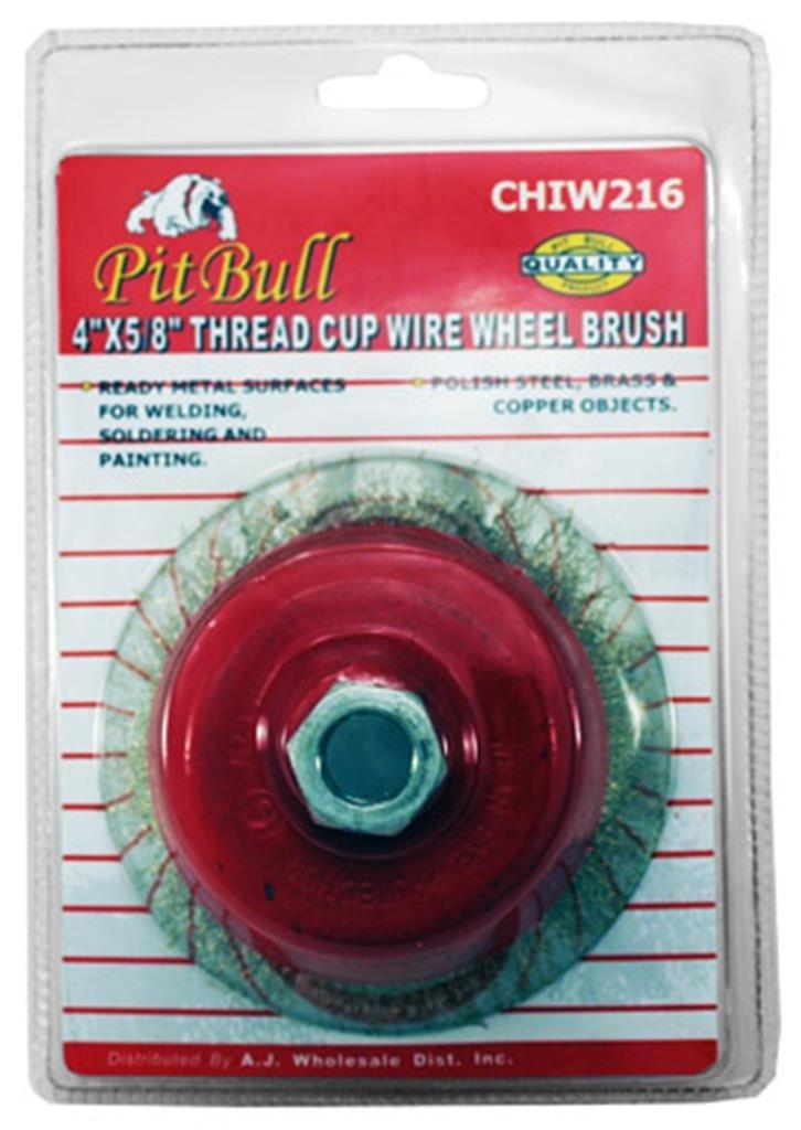Pitbull CHIW216 4-Inch x 5/8-Inch Thread Wire Wheel Cup