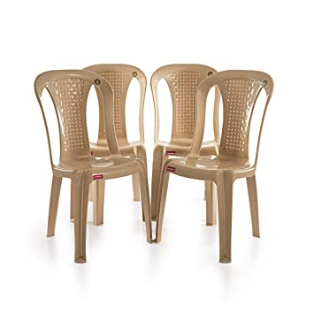 Varmora Without Arm Chair Set of 4 (Netted Dine Beige)