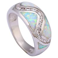925 Sterling Silver Rings for women White topaz White Opal ring silver jewelry ring size 5 6 7 8 9 R258