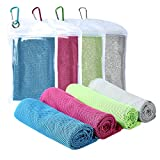 Cooling Towel [4 Pack] Sport Towels Microfiber Towel Fast Drying - Super Absorbent - Ultra Compact Cooling Towel for Sports, Workout, Fitness, Gym, Yoga, Pilates, Travel, Camping & More