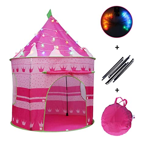 """quality design 65714 c10dc Wishome 53"""" Foldable Pop Up Pink Princess Play Tent for Kids Girls Castle  Playhouse for Indoor & Outdoor Use Gift Idea for Children (Pink Tent with  ..."""