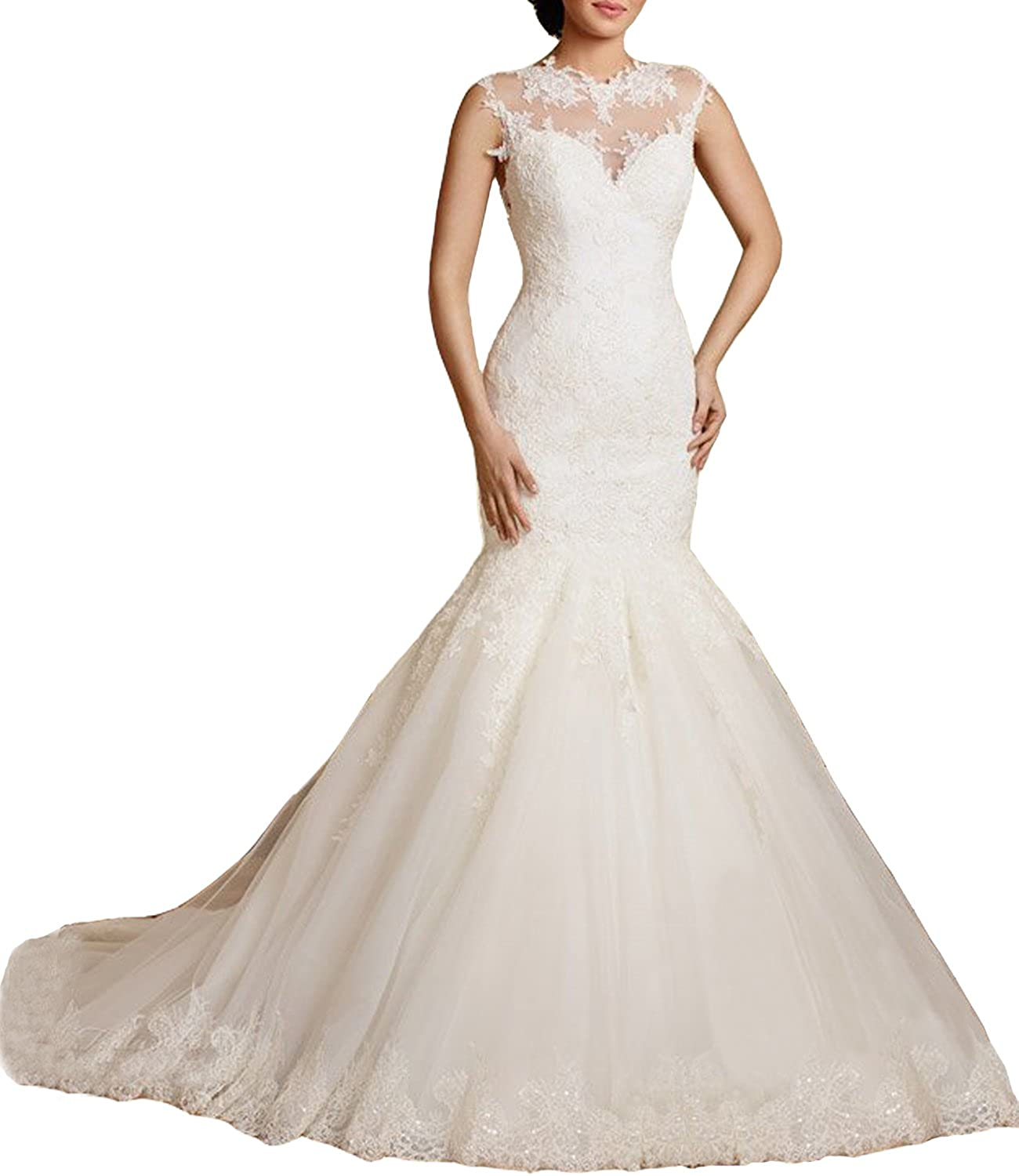 Alanre Illusion Appliques Lace Mermaid Wedding Dress Bride Gown High Keyhole Back at Amazon Womens Clothing store: